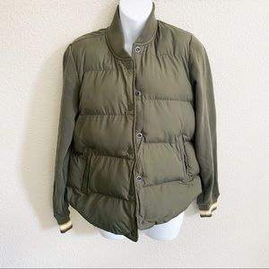 Abercrombie Army Green Puffer Bomber Jacket